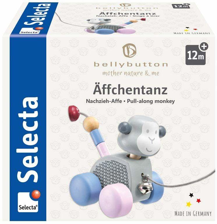 Selecta 64025 Äffchentanz, zabawka do ciągnięcia, z drewna, 11 cm