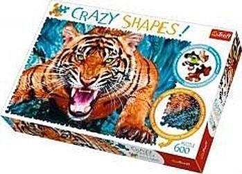 Puzzle TREFL 600 - Crazy Shapes - Oko w oko z tygrysem, Facing a tiger