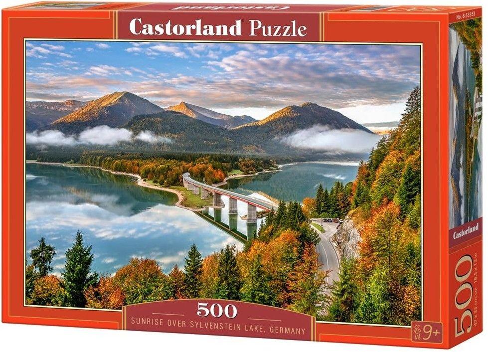 Puzzle Castor 500 - Wschód słońca nad jeziorem Sylvenstein, Niemcy,Sunrise over Sylvenstein Lake, Germany