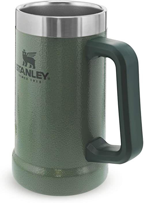 Stanley Adventure Vacuum Stein 0.7L / 24oz Hammertone Green  Utrzymuje zimne piwo przez 7 godzin - Kufel do piwa ze Stali Nierdzewnej z pokrywką i uchwytem - Do Mycia w Zmywarce