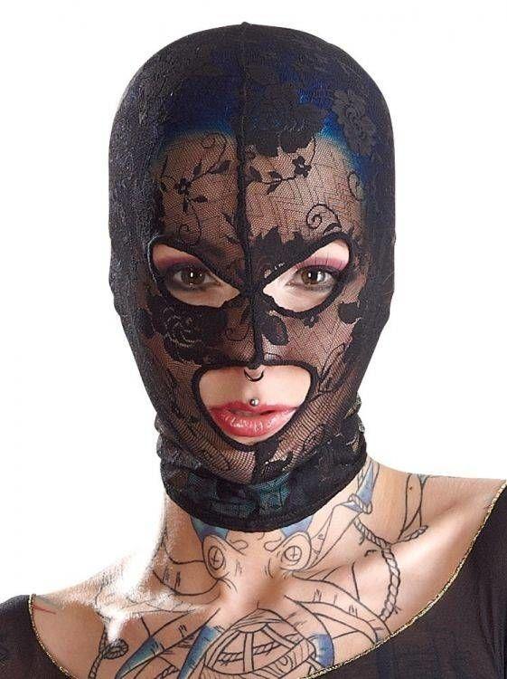 Koronkowa Maska na Głowę 3 Otwory 100% DYSKRECJI BEZPIECZNE ZAKUPY
