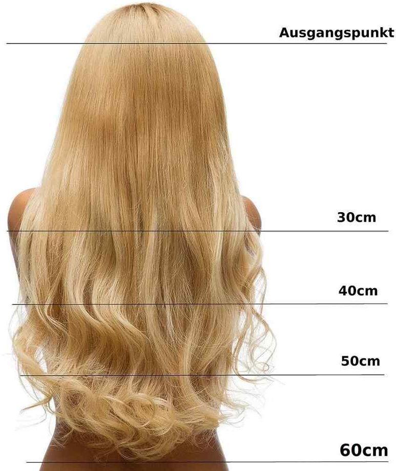 hair2heart Clip in Extensions, waga włosów 130 g, falowane, 27 A ciemny złoty blond