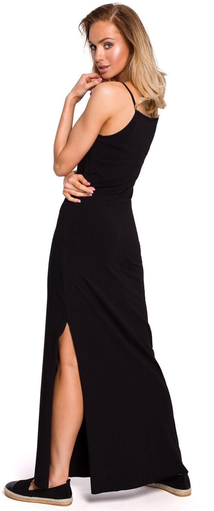 M432 Bawełniana sukienka maxi na ramiączkach - czarna