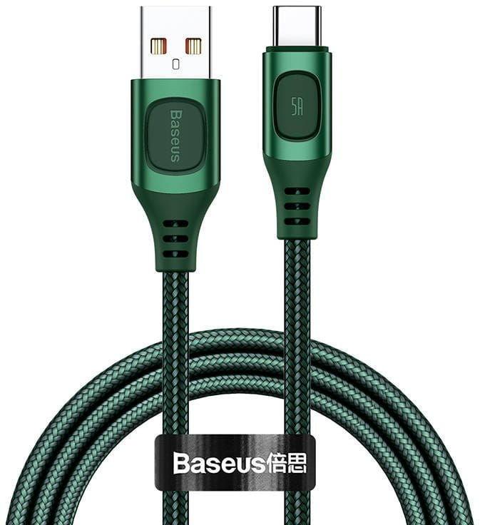 Kabel szybkiego ładowania USB-C Baseus Flash, QC 3.0, Huawei SCP, Samsung AFC, 5A, 1m (zielony)