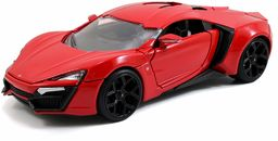 Jada Toys 253203003 Fast & Furious Lykan Hypersport, samochód, zabawkowy samochód z Die-cast, otwierane drzwi, bagażnik i maska silnika, skala 1:24, czerwony