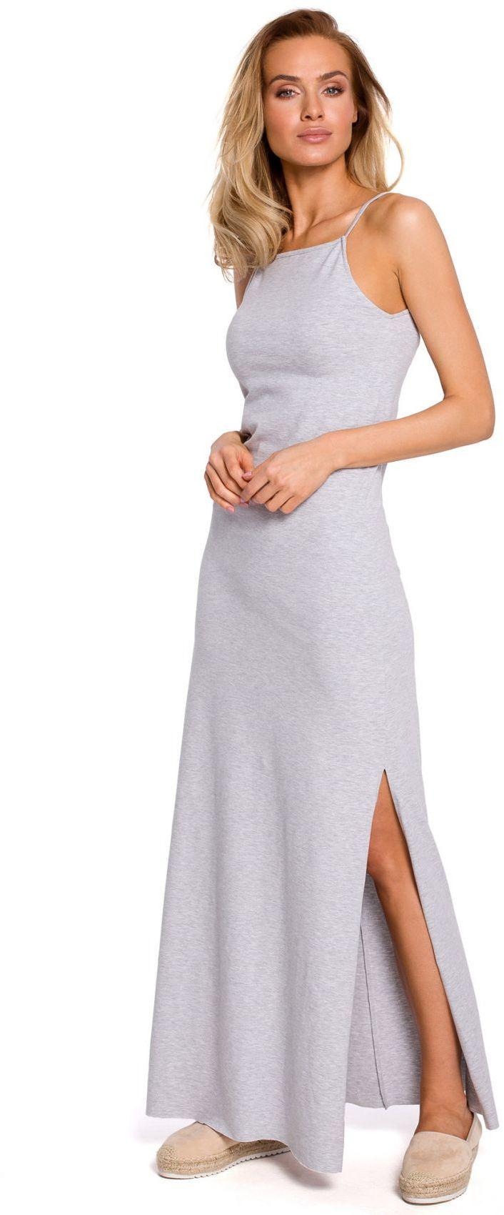 M432 Bawełniana sukienka maxi na ramiączkach - szara