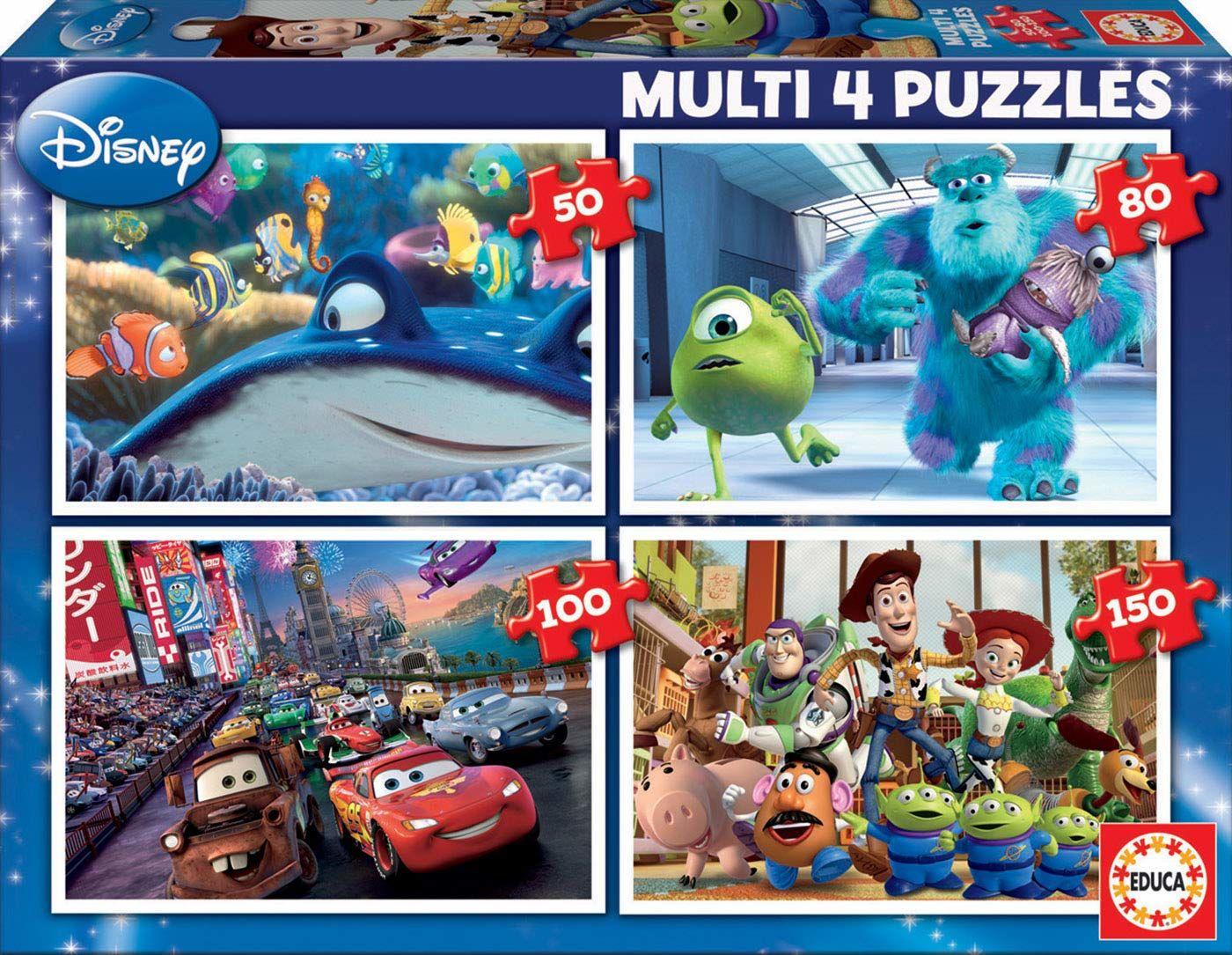 Educa Borras Multi Puzzle 4 w 1 Pixar Nemo Monsters Samochody Toy Story