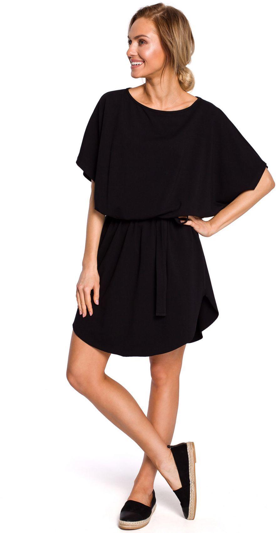 M433 Bawełniana sukienka mini z paskiem - czarna