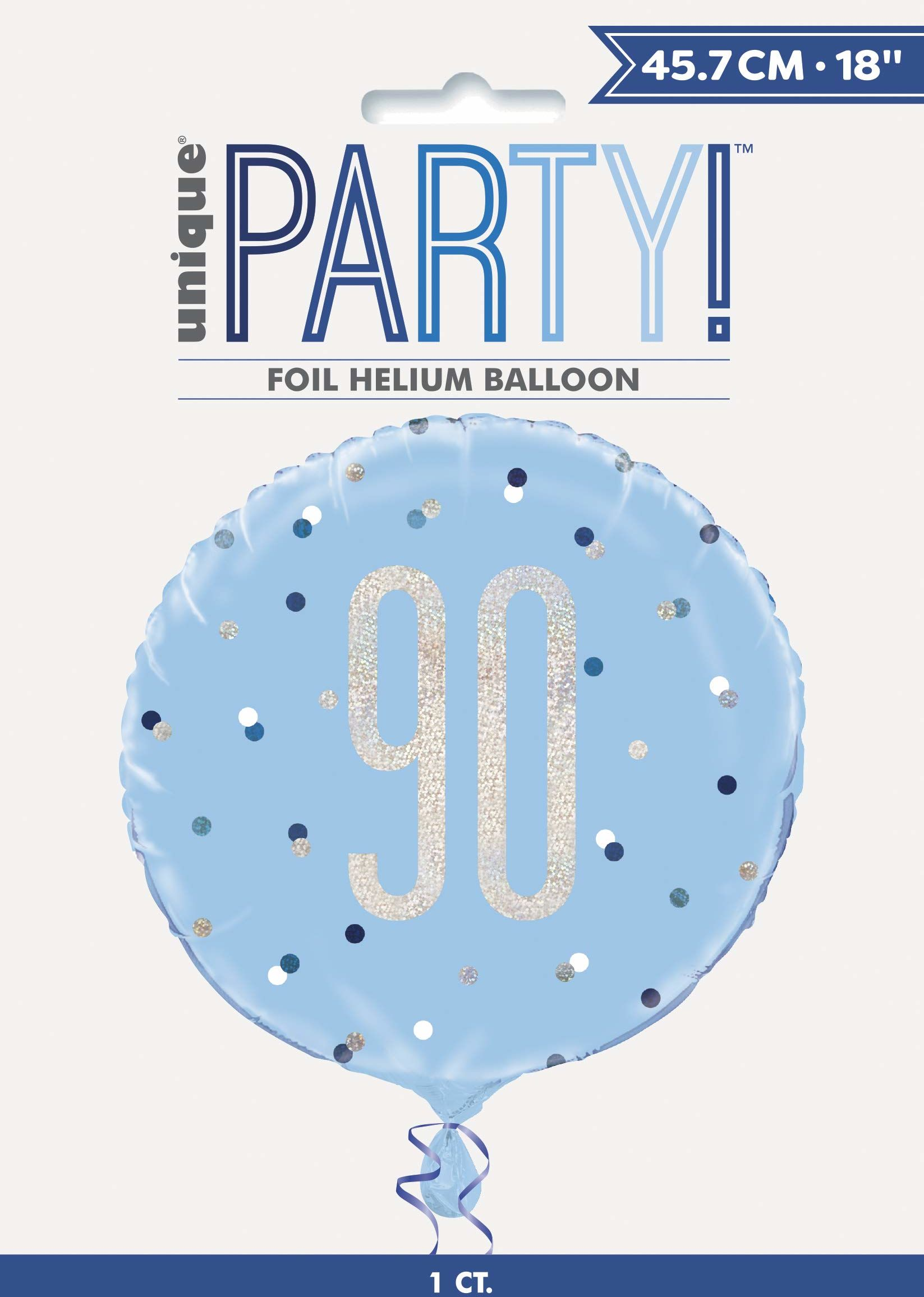 Unique Party 83364 83364-45 cm foliowy brokatowy niebieski i srebrny balon na 90. urodziny, niebieski, wiek 90 lat