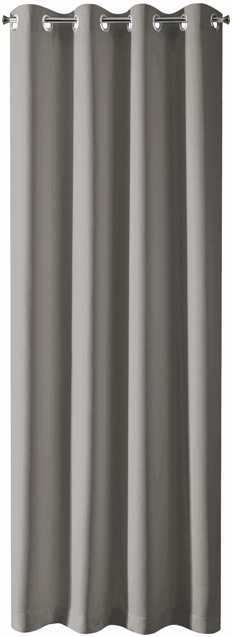Design91 Gładkie zaciemniające 8 oczek, miękkie zasłony, nowoczesne proste zasłony do sypialni, pokoju dziecięcego, salonu, grafitu, 135 x 250 cm