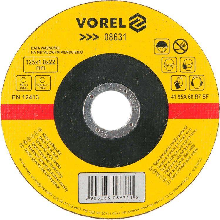 Tarcza do cięcia metalu 125x1x22 Vorel 08631 - ZYSKAJ RABAT 30 ZŁ