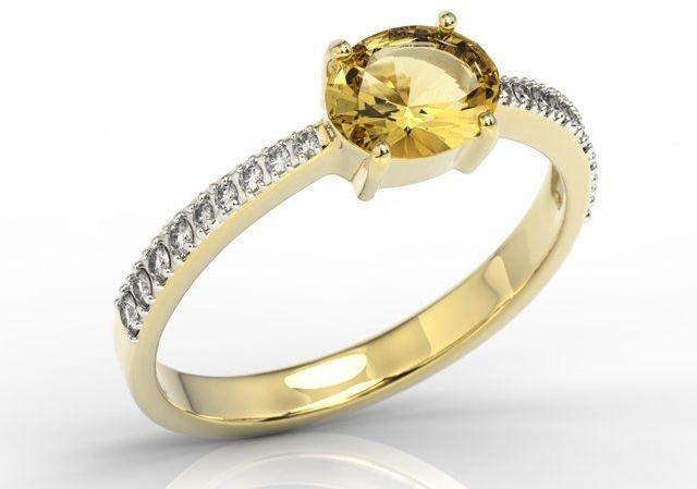 Pierścionek z żółtego złota z cytrynem i cyrkoniami bp-58z-r-c