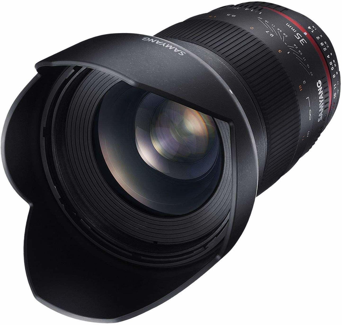 Samyang 35/1,4 obiektyw DSLR Nikon F AE ręczna regulacja ostrości, pierścień fotograficzny, obiektyw szerokokątny czarny