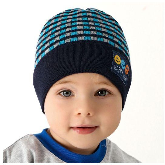 Przejściowa czapka w paski dla chłopca 40-42 AJS/36-033 Granatowa