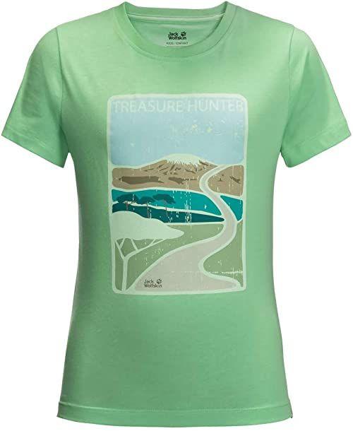 Jack Wolfskin Unisex Dziecięcy T-shirt Treasure Hunter zielony zielony (Spring Green) 128