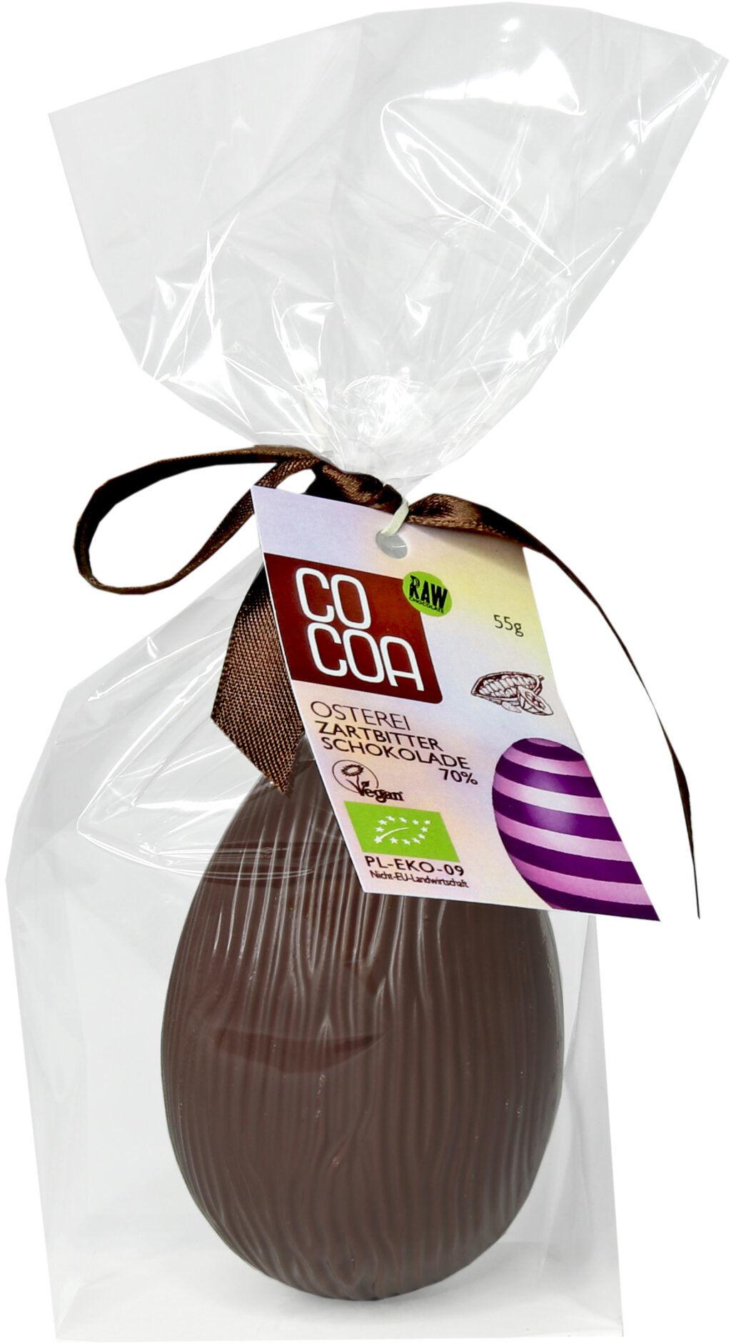 Jajko Wielkanocne z ciemnej czekolady 70% 55g - BIO