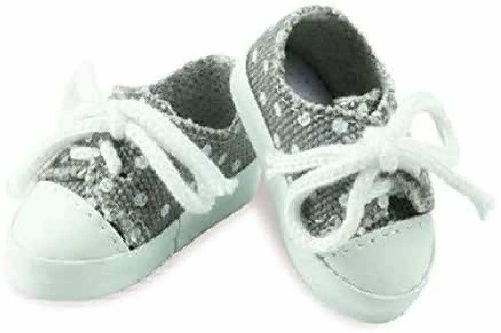 Petitcollin Petitcollin603404 Szare płócienne buty z białymi kropkami dla lalki Minouche, wielokolorowe