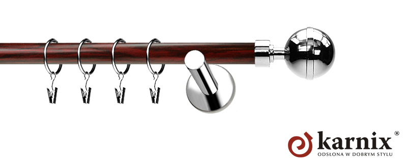 Karnisze Nowoczesne NEO Prestige pojedynczy 19mm Kula Elegant INOX - mahoń