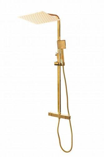 DESZCZOWNICA 30x30 cm - Złoty zestaw prysznicowy z termostatem, ZŁOTA