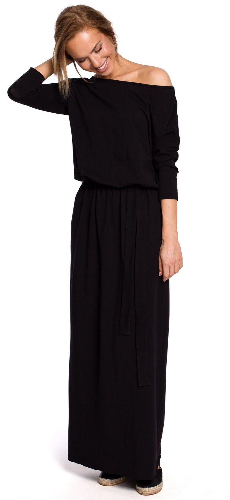 M435 Bawełniana sukienka maxi z paskiem wiązanym w talii - czarna