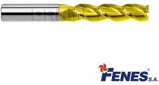 Frez 4mm 3-ostrzowy trzpieniowy, długi do metali lekkich z chwytem walcowym DIN844-A L-M-W, HSS-E TiN Golden Line - FENES
