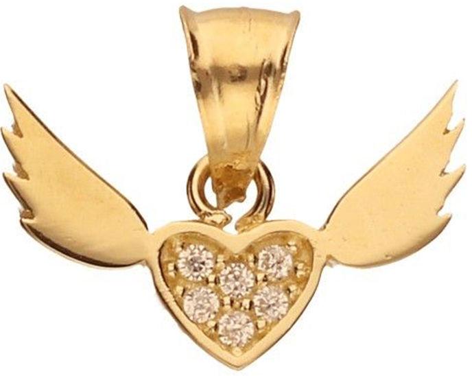 Złota zawieszka 585 małe serduszko skrzydła 0,62 g