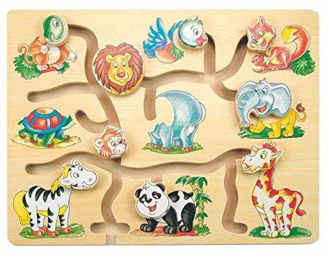 0 Woody 90313 Eco Wooden Educational Moving Animal Heads - Maze (9 szt.) dla dzieci 3y+ (32 x 22,5 x 1,5 cm)