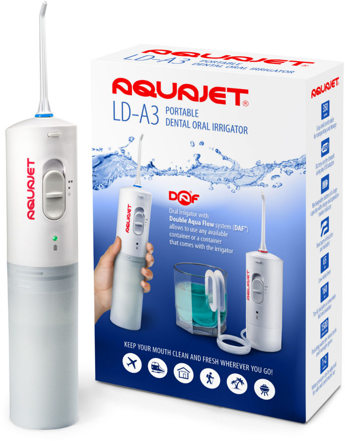 AQUAJET LD-A3 irygator do zębów bezprzewodowy z funkcją czerpania wody z dowolnego pojemnika