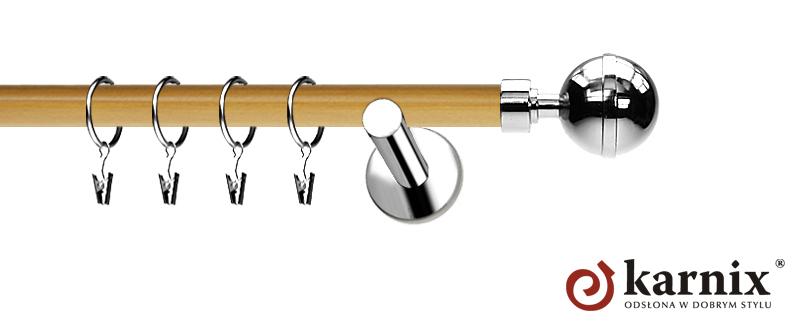 Karnisze Nowoczesne NEO Prestige pojedynczy 19mm Kula Elegant INOX - pinia