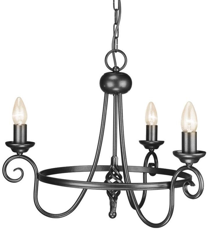 Żyrandol Harlech HR3/A BLK Elstead Lighting czarna oprawa w klasycznym stylu