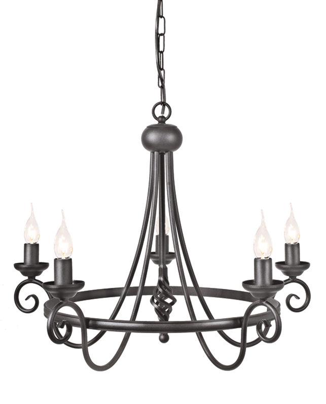 Żyrandol Harlech HR5 BLK Elstead Lighting klasyczna oprawa w kolorze czarnym
