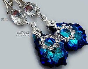NOWE! SWAROVSKI unikatowe kolczyki BLUE ORCHIDEA