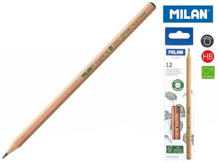 Ołówek sześciokątny Milan HB natural 12 sztuk