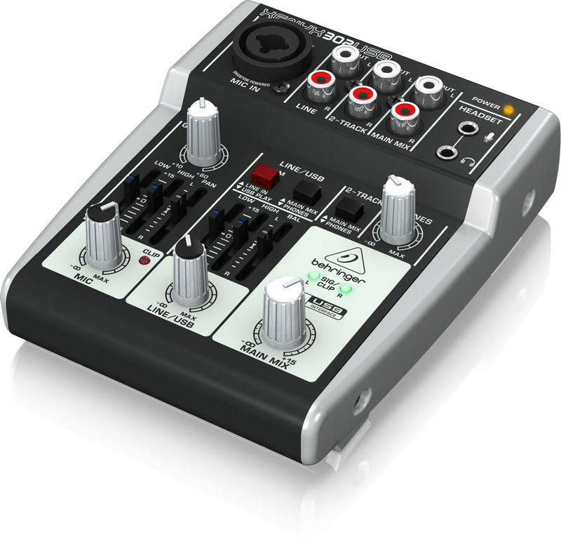 Behringer 302USB - 5-kanałowy mikser XENYX 302USB z przedwzmacniaczami mikrofonowymi XENYX oraz interfejsem audio USB.