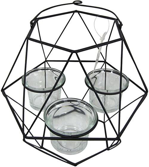 homea 5bgd133nr geometryczny świecznik szklany metal/szkło czarny 20 x 17,5 x 27 cm