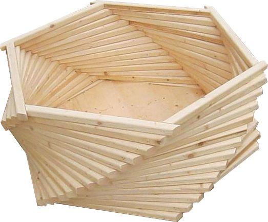 Sześciokątna drewniana duża donica ogrodowa - Izora