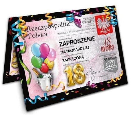 Zaproszenie na 18 urodziny Dowód z kopertą 1szt. ZX8400