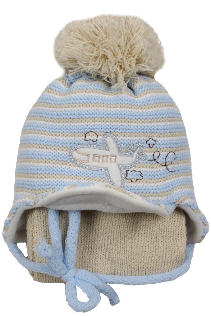 Chłopięcy komplet czapka i szalik 38 cm Artur niebiesko-beżowy