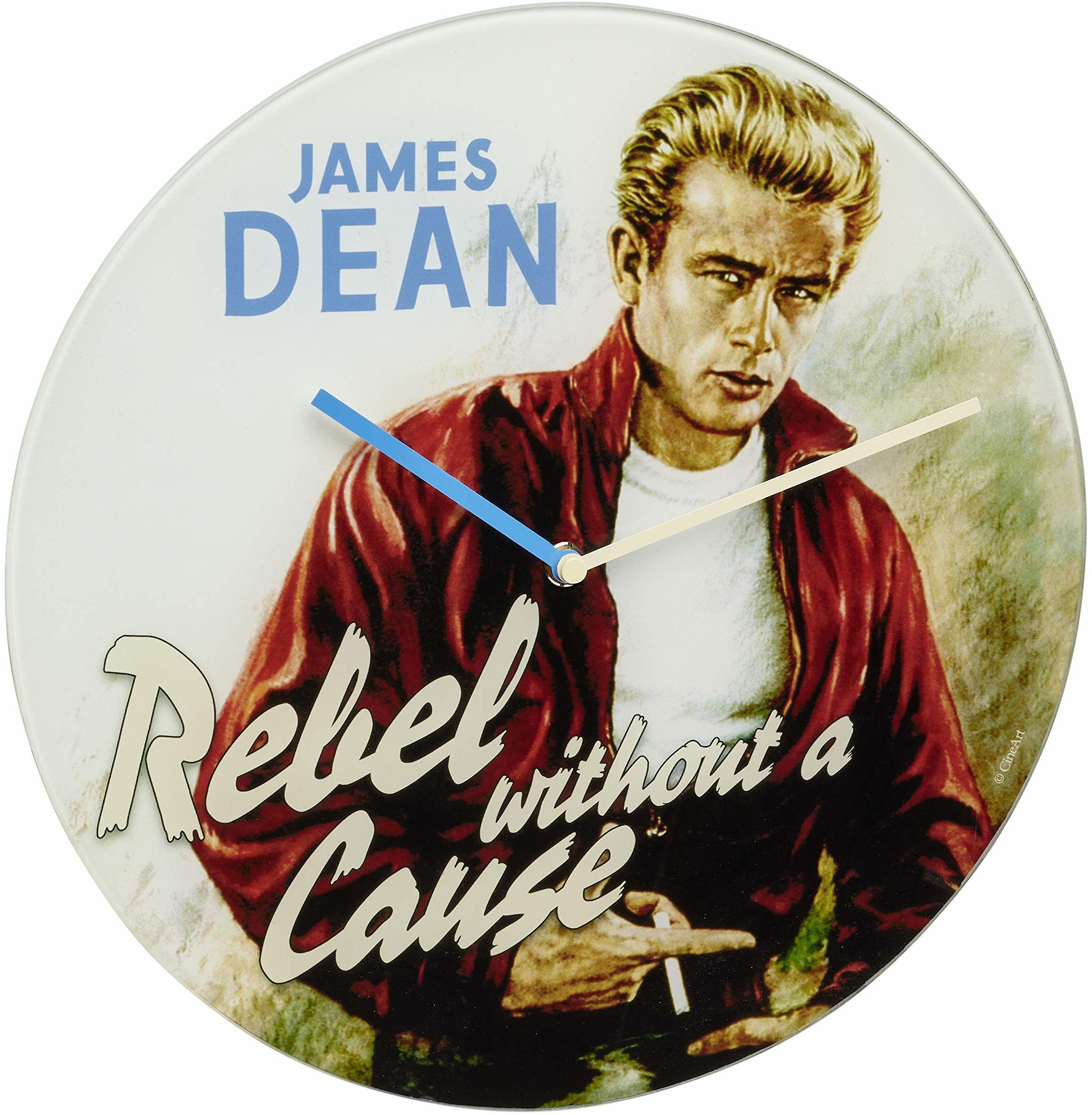 TFA Dostmann Analogowy zegar ścienny Cinema Legends, 60.3059.12, motyw Jamesa Dean, ze szkła, styl vintage, beżowy, (dł.) 300 x (szer.) 40 x (wys.) 300 mm