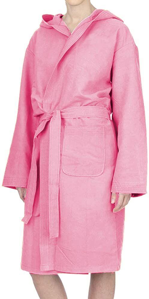 PETTI Artigiani Italiani  szlafrok z mikrofibry, męski szlafrok kąpielowy z mikrofibry, dla kobiet, różowy, XL, 100% mikrofibra