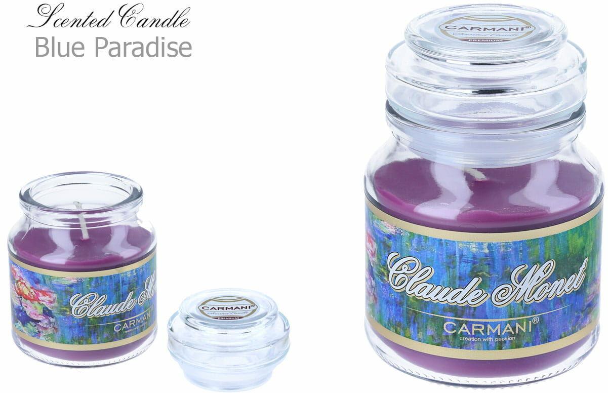 Carmani, świeczka zapachowa american mały - C. Monet. Blue Paradise