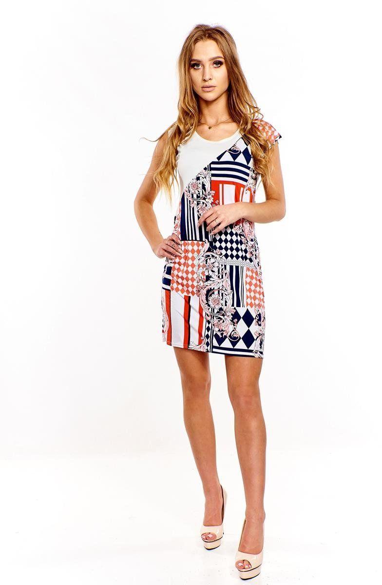 Sukienka FSU375 WIELOKOLOROWY EKRI