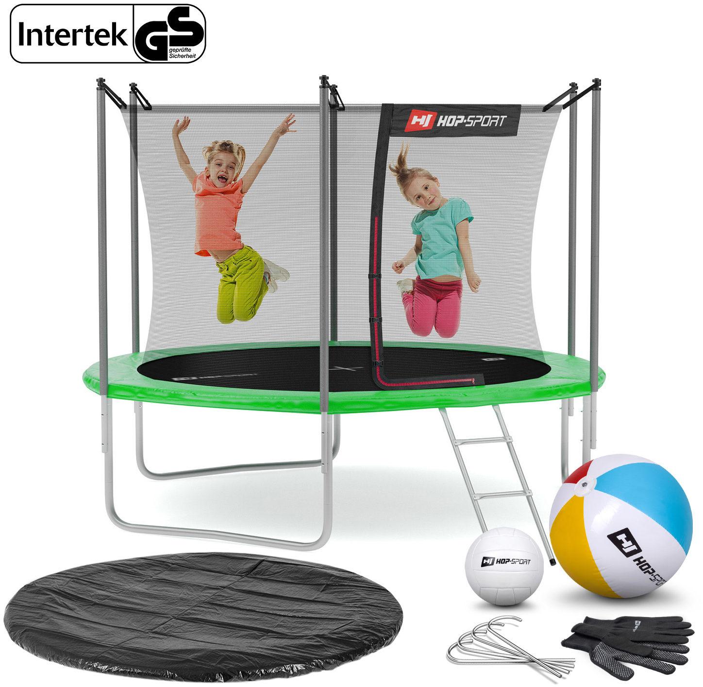 Trampolina Hop-Sport 10ft (305cm) zielona z siatką wewnętrzną - 3 nogi