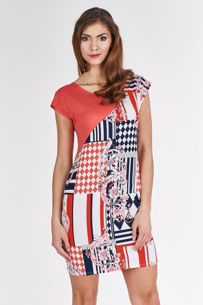 Sukienka FSU375 WIELOKOLOROWY KORALOWY