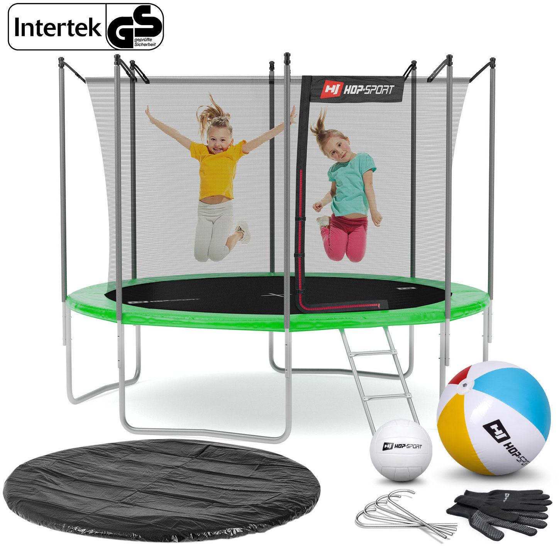 Trampolina Hop-Sport 10ft (305cm) zielona z siatką wewnętrzną - 4 nogi