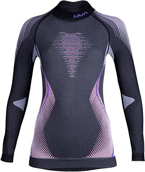 UYN damska koszulka z długim rękawem Evolutyon Uw z długim rękawem Turtle Neck melanż szary Anthracite Melange/Raspberry/Purple S-M