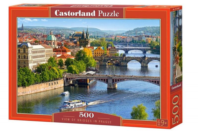 Puzzle 500 elementów - Widok na mosty w Pradze