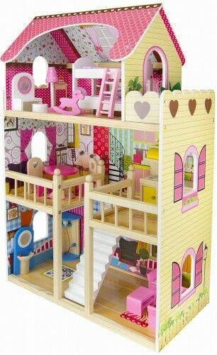 Drewniana Rezydencja - domek dla lalek+4 laleczki +oświetlenie LED