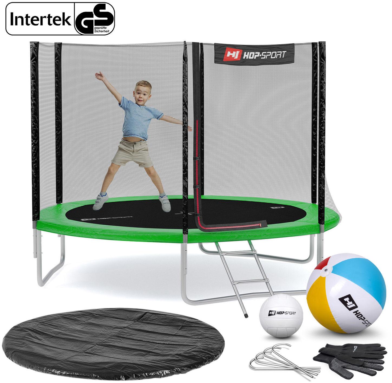 Trampolina Hop-Sport 10ft (305cm) zielona z siatką zewnętrzną - 3 nogi