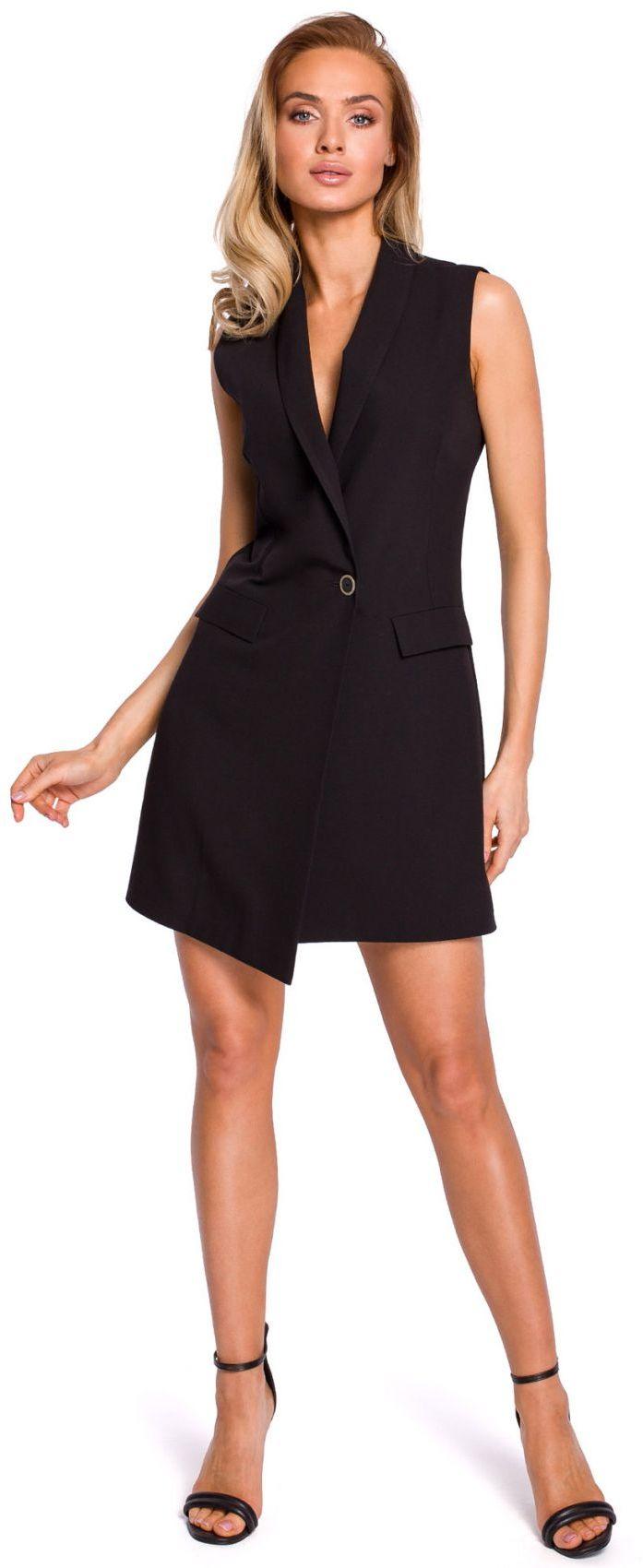 M439 Sukienka żakietowa bez rękawów - czarna